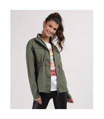 jaqueta parka juvenil gola alta verde militar