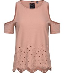 cutwork cold shoulder top t-shirts & tops short-sleeved rosa superdry
