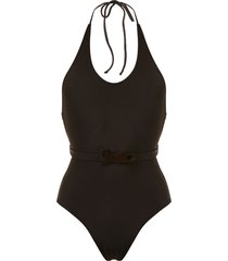 adriana degreas belted halter neck swimsuit - brown