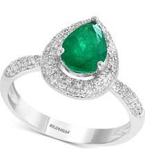 gemstone bridal by effy emerald (9/10 ct. t.w.) & diamond (3/8 ct. t.w.) pear shaped ring in 18k white gold