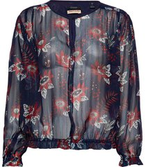 drapey top in floral prints with elastic detailing blouse lange mouwen multi/patroon scotch & soda