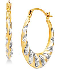 small two-tone hoop earrings in 14k gold & rhodium-plate