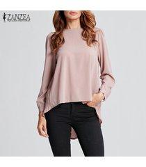 zanzea camiseta de gasa de manga larga para mujer camiseta plisada suelta blusa de túnica de talla grande -caqui