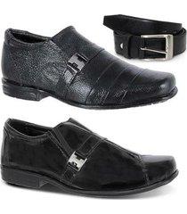 kit 2 pares sapato social infantil e 1 cinto leoppé - masculino