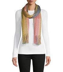 fringed knit chevron scarf