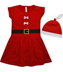 kit vestido manga curta e gorro nigambi natal mamãe noel vermelho