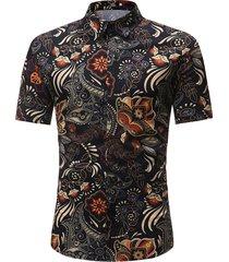 hombres retro paisley impreso cómodo holiday short sleeve camisa