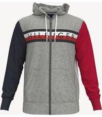 tommy hilfiger men's essential colorblock zip hoodie grey heather - s