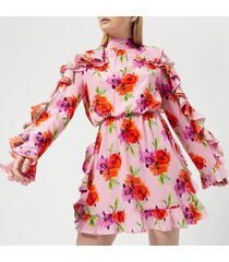 msgm women's frill detail mini dress - pink - it 44/uk 12 - pink
