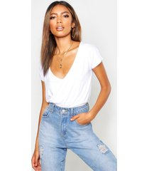 basic fitted waist v neck t-shirt, white