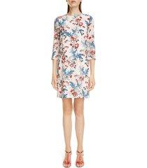 women's erdem emma floral print silk shift dress, size 6 us - white