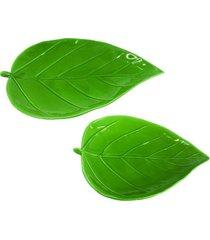 conjunto de pratos em cerâmica folhas 2 peças