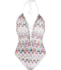 missoni mare zigzag stripe knit swimsuit - white