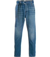 off-white industrial belt slim fit tapered jeans - blue