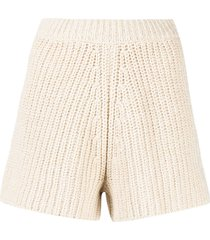 alanui high-waisted chunky-knit shorts - neutrals