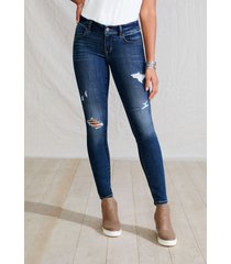 maurices womens jeans denimflex™ super dark wash destructed jegging blue denim