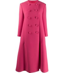 gucci double breasted flared coat - pink