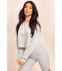 korte oversized sweater, grijs gemêleerd