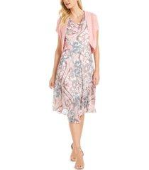 robbie bee petite floral-print dress & crochet shrug