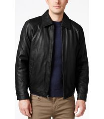 nautica men's big & tall point collar leather jacket