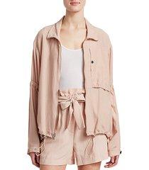 cinched sleeve anorak jacket