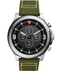 fossil men's tech latitude hr green nylon strap hybrid smart watch 50mm