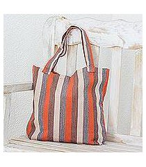 cotton tote bag, 'autumn lines' (guatemala)