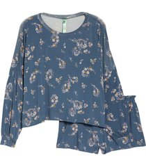 honeydew intimates all american long sleeve shortie pajamas, size x-large in night mist floral at nordstrom