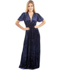 vestido york azul jasp terciopelo maria paskaro