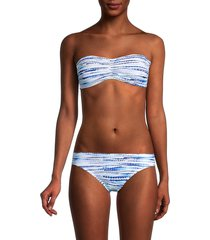 la blanca women's tidal bandeau bikini top - blue white - size 16