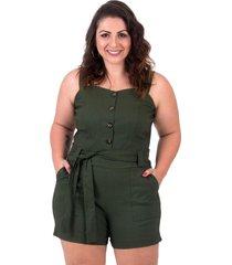 macaquinho verde militar plus size com cinto e botãµes - verde - feminino - dafiti