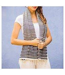 cotton scarf, 'grey roads found' (guatemala)