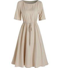 half sleeve toggle drawstring casual dress