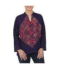 cotton batik blouse, 'woven blossom' (thailand)