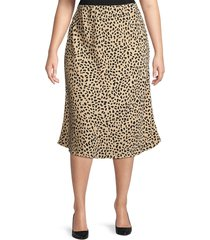 sanctuary women's plus animal-print satin midi skirt - leopard - size 1x (14-16)