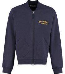 universal works full zip cotton hoodie