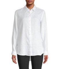 saks fifth avenue women's linen shirt - baja blue - size xs