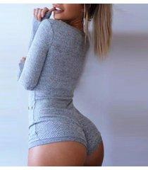 women long sleeve jumpsuit bodysuit knit leotard top v-neck playsuit dress blous