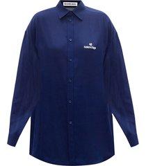 classic blue silk shirt