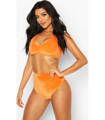 mix & match velvet bikini top, orange
