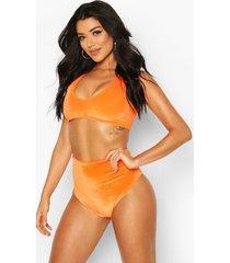 mix & match velvet bikini top, orange
