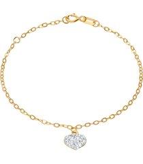 bracciale in oro giallo con ciondolo cuore e strass biancchi per donna