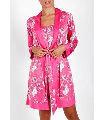 pyjama's / nachthemden admas pink flowers fuchsia negligé