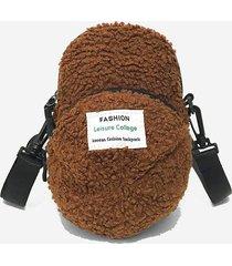 cap shape teddy fluffy crossbody bag