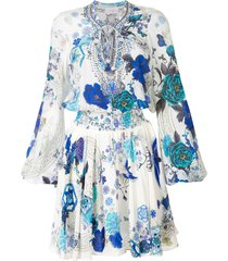 camilla white moon shirred printed dress - blue