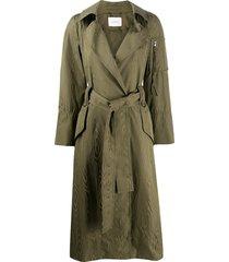 dorothee schumacher waist-tied trench coat - green