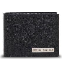 balenciaga black leather wallet with logo plate