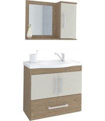 gabinete suspenso para banheiro atenas 56,5x63,5cm carvalho e off white