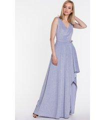 brokatowa sukienka o asymetrycznym kroju