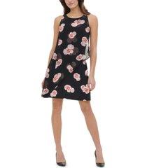 tommy hilfiger petite floral-print chiffon-overlay dress